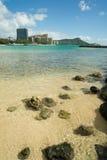 Boats Float Pacific Ocean Diamond Head Oahu Waikiki Hawaii Stock Photo