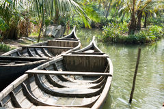 Boats floating on the canal in tropical forest Royalty Free Stock Image