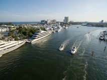 Boats floating in Fort Lauderdale bay. Florida USA. Aerial view Stock Photo