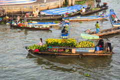 Boats at the floating market in Mekong Delta, Vietnam royalty free stock photos