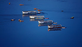 Boats floating on surface Royalty Free Stock Photography