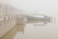 Boats in a fog in Helsinki, Finland Stock Photography