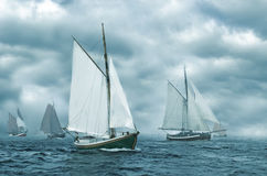Boats in the fog. Regatta of old sailing boats coming out of the fog Stock Photography