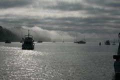 Boats at foggy Reid Harbor Royalty Free Stock Images