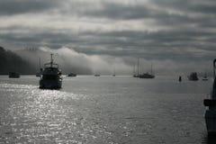 Boats at foggy Reid Harbor. Photo taken of fog and boats anchored in Reid Harbor, Stuart Island, Washington Royalty Free Stock Images