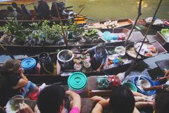 Boats with Food at a Floating Market Stock Photography
