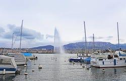 Boats and fountain on Geneva lake. Switzerland Royalty Free Stock Photo