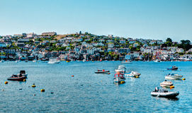 Boats on Fowey River Cornwall in colourful HDR with view to Polruan Royalty Free Stock Photos