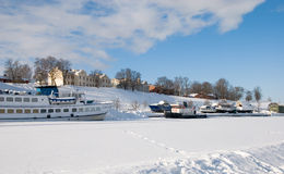 Boats on the frozen lake Saimaa. Lappeenranta Stock Images