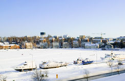 Boats on the frozen lake Saima. Lappeenranta Stock Photo