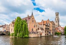 Boats full of tourist enjoying Bruges royalty free stock photography