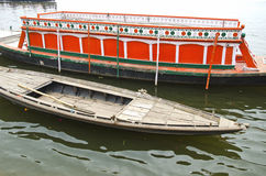 Boats in Ganges holy river, Varanasi Royalty Free Stock Images