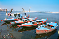 Boats on Ganges holy river in Varanasi, India Royalty Free Stock Photo