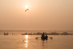 Boats on the Ganges River at Sunrise in Varanasi, India Stock Photography