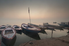 Boats on Ganges river. In Varanasi, India Stock Images
