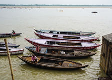 Boats on Ganges river in Varanasi, India Stock Photo