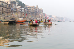 Boats on the Ganges River Royalty Free Stock Image