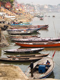 Boats on the Ganges River in Varanasi, Uttar Pradesh, India Royalty Free Stock Image