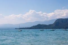 Boats on the Garda lake during in Bardolino, Italy stock photo
