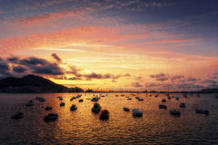 Boats in Getxo at evening Stock Photo