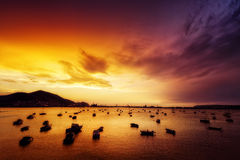 Boats in Getxo at evening Stock Photos