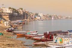 Boats and ghats, Varanasi Royalty Free Stock Photos