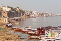 Boats and ghats, Varanasi Stock Images