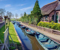 Boats in Giethoorn Stock Photography