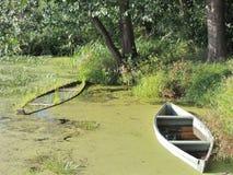 Boats. Godforsaken corner of pond with waterlogged boats Stock Image