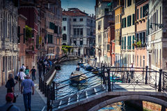 Boats and gondola on canals Stock Images