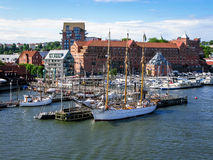 Boats in Gothenburg harbour, Sweden. Jetties with sailboats and yachts along Gota Alv River in the harbour of Gothenburg, Sweden Royalty Free Stock Photos
