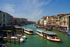 Boats on Grand Canal. Scenic view of tourist cruise boats on Grand Canal, Venice, Veneto region, Italy royalty free stock images