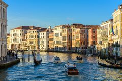 Boats on Grand Canal Canale Grande, Venice, Veneto, Italy. Gondolas, water taxi and another boats on Grand Canal Canale Grande, Venice, Italy stock photos