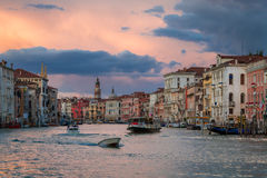 Boats on Grand Canal at Sunset, Venice stock photo