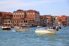 Boats in the Grand Canal in Venice, Italy. Retro styled Stock Image