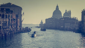 Boats on Grand Canal in Venice Royalty Free Stock Photos