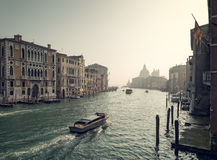Boats on Grand Canal in Venice Stock Photos