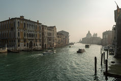 Boats on Grand Canal in Venice Royalty Free Stock Photo