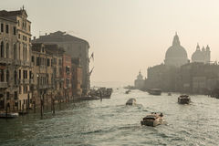 Boats on Grand Canal in Venice Stock Photo