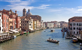 Boats at Grand chanel. Boats with tourists on Grand canal near Realto bridge. Venice Stock Photography