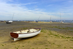 Boats at Grand Piquey in France. Boats in the beach at low tide of Grand Piquey, village is a located on the shore of Arcachon Bay, in the Gironde department in Stock Photography