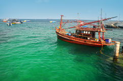 Boats in green sea water, Thailand Royalty Free Stock Photos