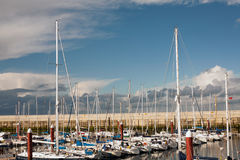 Boats in Greystones marina harbour Stock Image