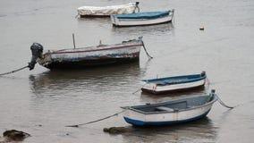 Boats Grounded at Caleta Cadiz Spain stock video