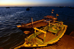 Boats Of Gujarat. Passenger boat at the ghat of vet-dwarka, Gujarat Royalty Free Stock Image