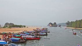 Boats in gulf in tourist port, the province Krabi Royalty Free Stock Photography