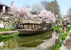 Boats, Hachiman-Bori, Omi-Hachiman, Japan Royalty Free Stock Photos
