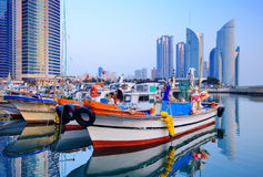 Busan. Boats at Haeundae, Busan, South Korea Stock Image