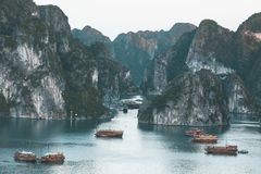 Halong Bay in Vietnam stock images