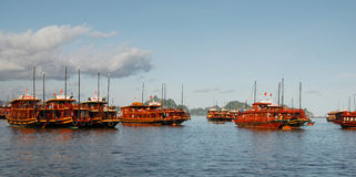 Boats at Halong Bay in Vietnam Stock Photography